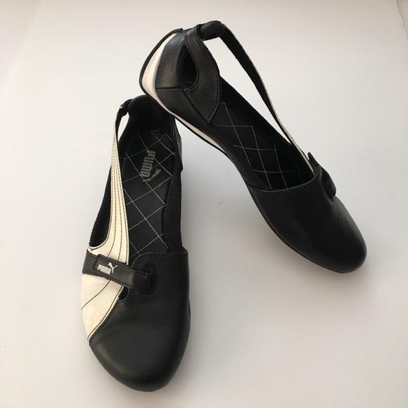 49a5be2c4b6a Puma Espera Black White Ballet Flat Shoes 8.5